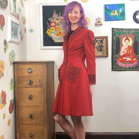 Vintage Princess Cut Coat, 1980s Red Wool Coat wi… - image 3