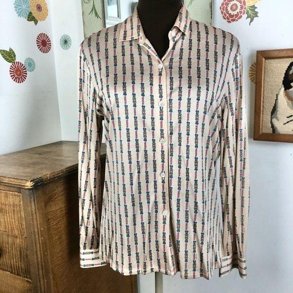 Vintage Silk Blouse, Celine Chain Print Blouse, Si