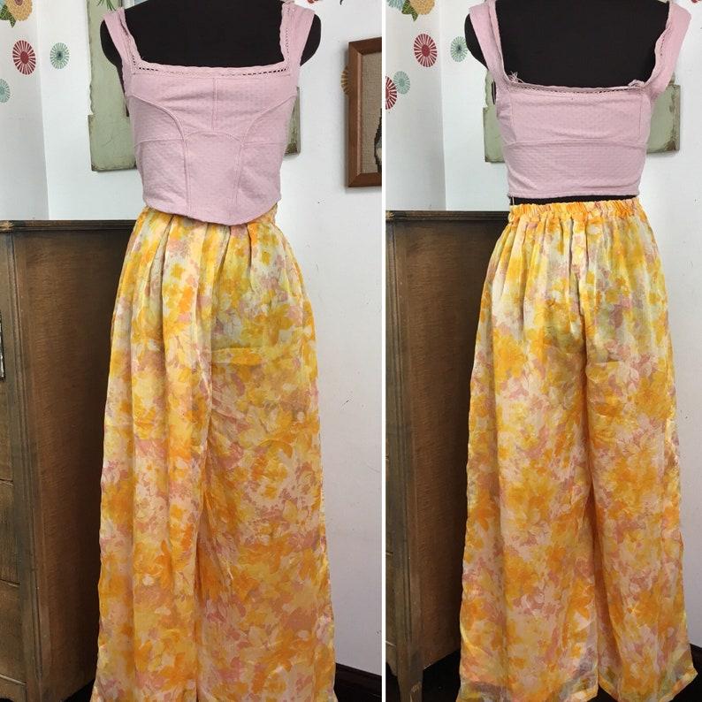 26202afbf6ad3 Vintage Palazzo Pants 1970s Yellow Floral Chiffon Cropped