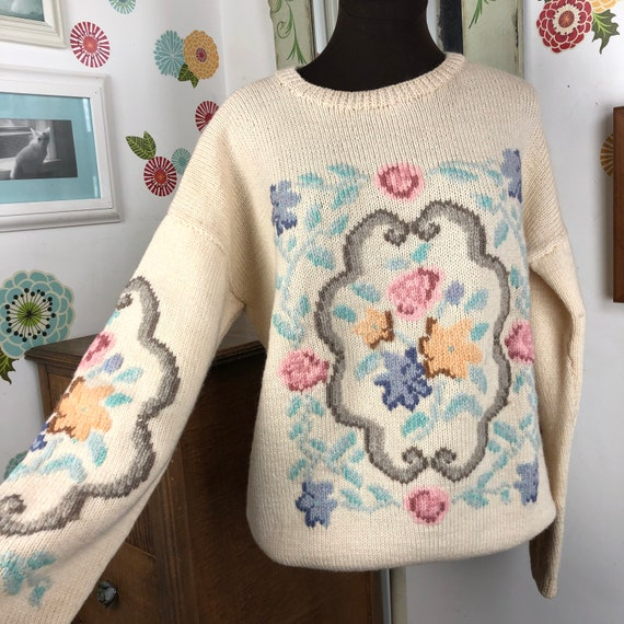 1980s Pastel Sweater, Romantic Floral Sweater, Ove