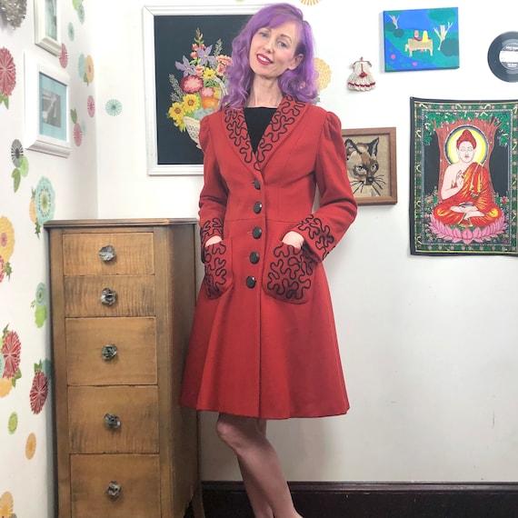Vintage Princess Cut Coat, 1980s Red Wool Coat wi… - image 2