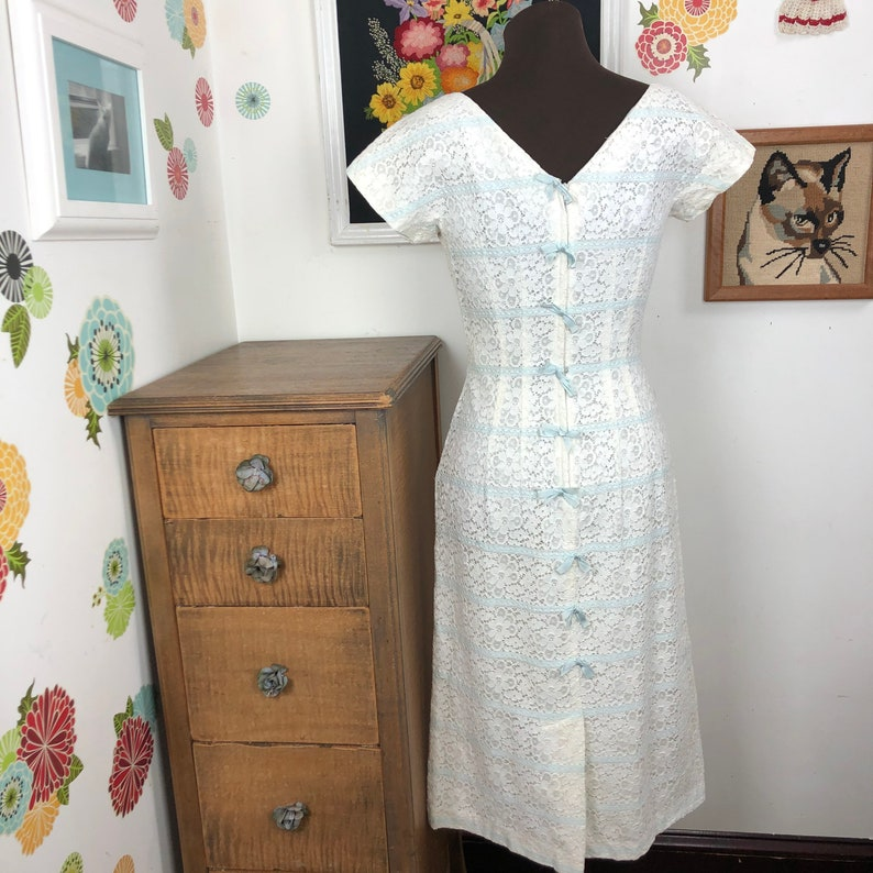 Jonathan Logan Dress Vintage White Eyelet Lace with Baby Blue Ribbon Accents 1960s Dress Size Small