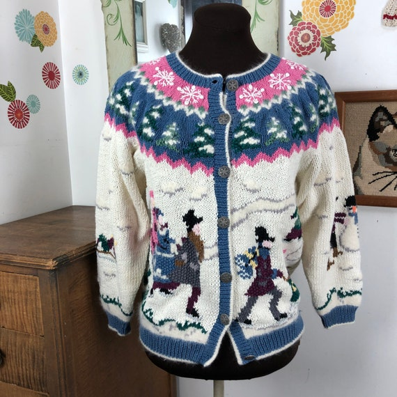 Vintage Ice Skating Sweater, Novelty Cardigan with