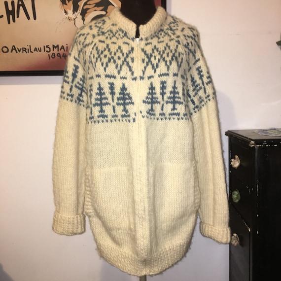 Vintage Wool Cardigan, Handknit Nordic Sweater, Cr