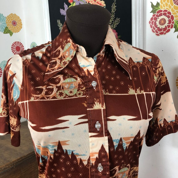Vintage Butterfly Collar Shirt with Cinderella Car