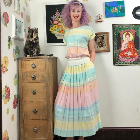 Vintage Pastel Stripe Skirt Set by Lanz Originals,