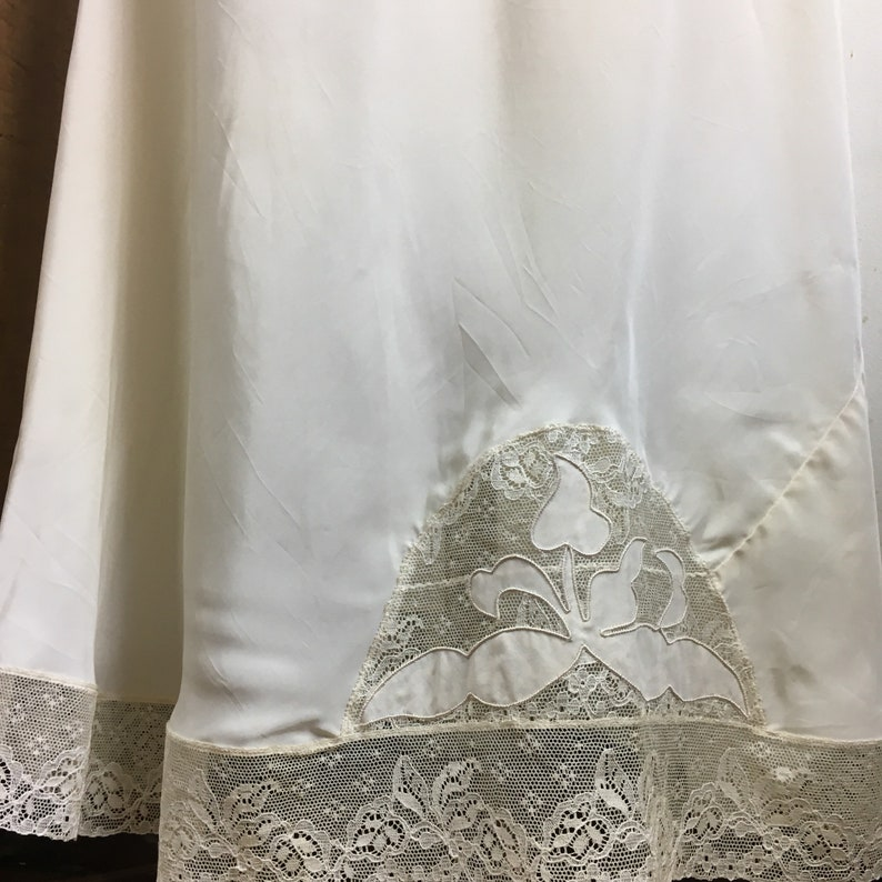 Vintage Nightgown Full Length Slip Lingerie 1940s Lace and Appliqu\u00e9 Top Hollywood Glamour Style Boudoir Wedding Honeymoon