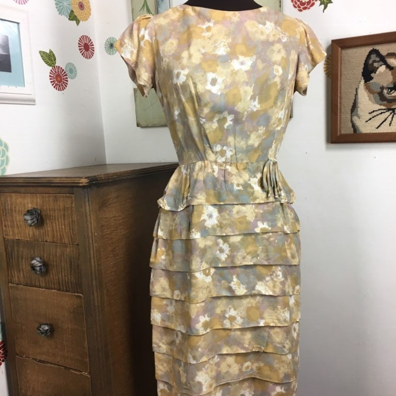 c71abf757961 Vintage Wiggle Dress Mustard Day Dress with Tiered Skirt | Etsy