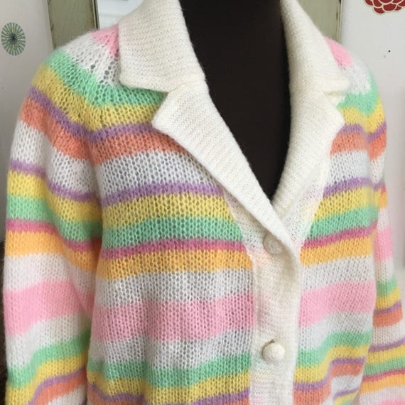 183a540a5c Vintage Rainbow Sweater 1960's Striped Mohair Cardigan | Etsy