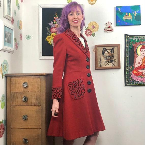 Vintage Princess Cut Coat, 1980s Red Wool Coat wi… - image 6