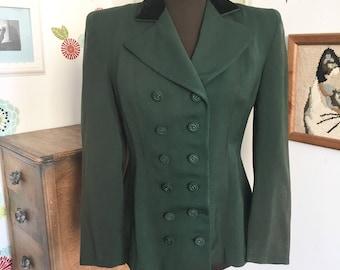 Vintage Wool Blazer 1940s Fitted Jacket, Silk Lined Jacket Velvet Collar Double Breasted Shoulder Pads