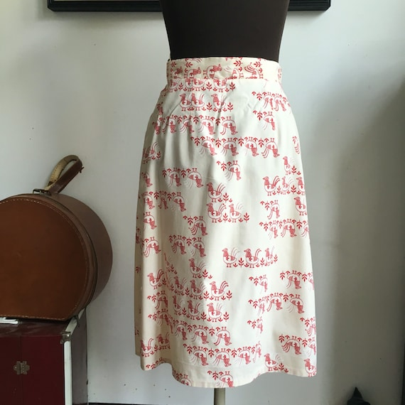 Vintage Cotton Bird Skirt, Button Front with Nove… - image 2