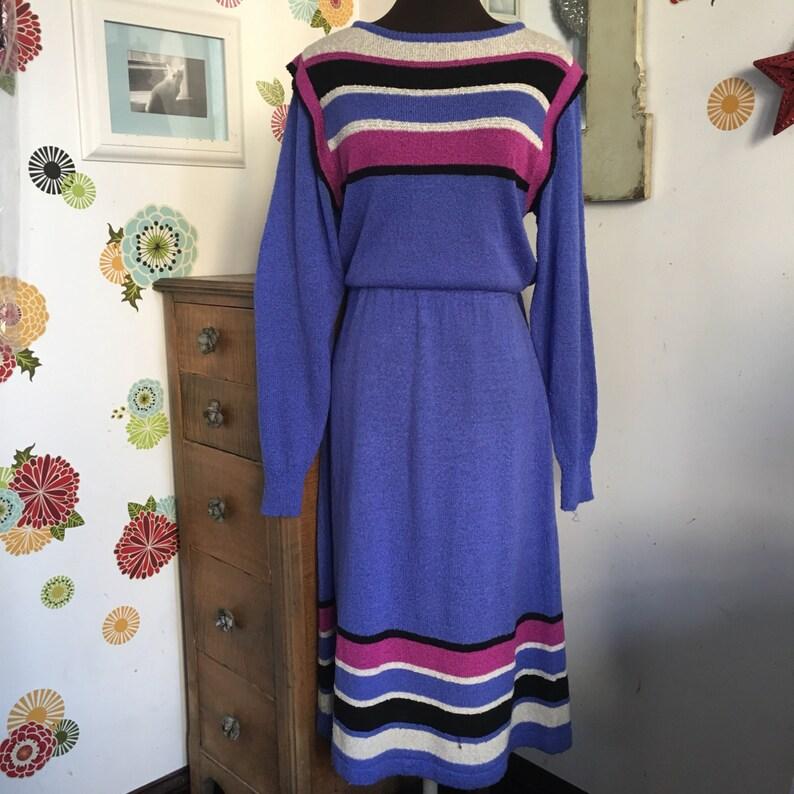 4289673cfaa Vintage Knit Sweater Dress Darian Knitwear Periwinkle Blue