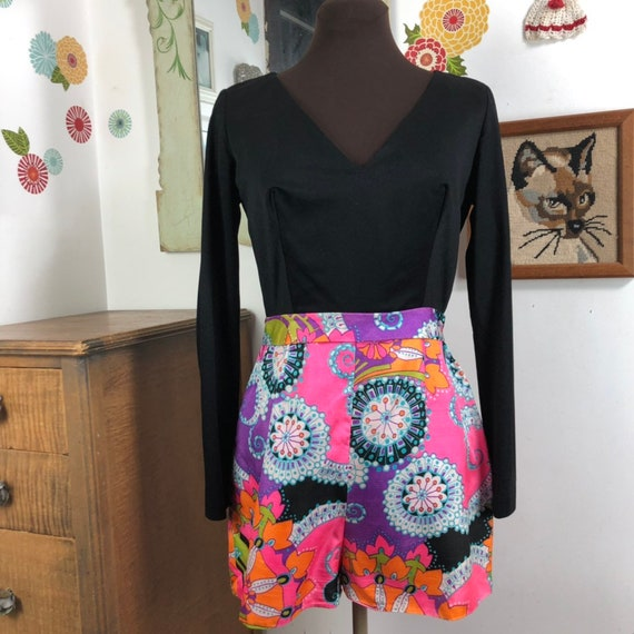 Vintage Romper Psychedelic Print Shorts with Long… - image 2
