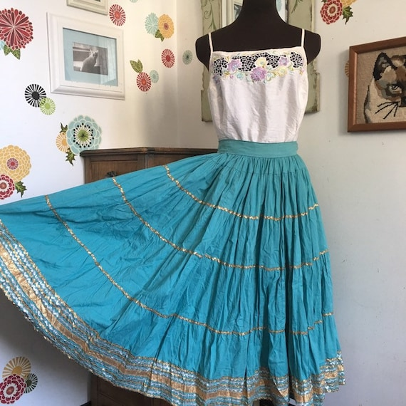 Vintage Patio Skirt by Alpha of Tucson, Turquoise