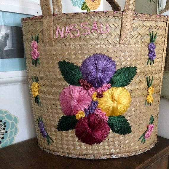 Vintage Straw Beach Tote, Oversized Floral Raffia