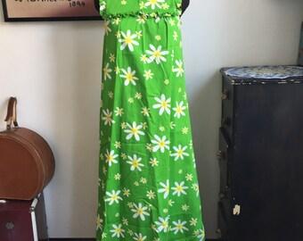 Vintage Hawiian Dress by Waltah Clarke's Hawiian Shops Size Small, Green Floral Hostess Gown