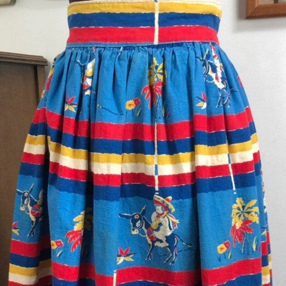 Vintage Novelty Print Skirt 1940s Mexican Cotton S