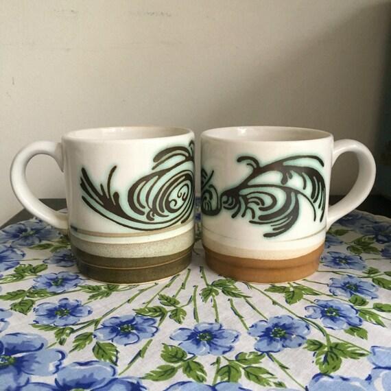 ff0fdb1d6e4e4 Green & Brown Swirls Stoneware Mug Pair, Coffee Cups Dipped Glaze Effect