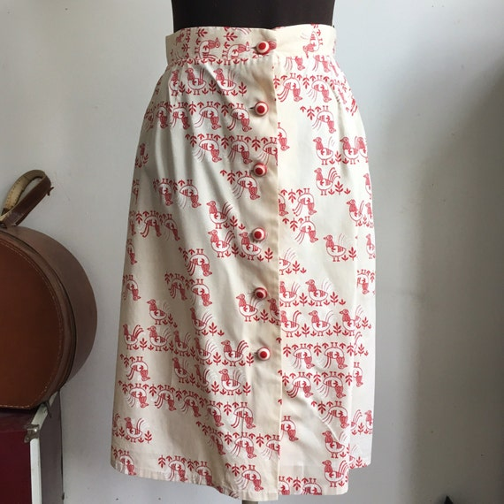Vintage Cotton Bird Skirt, Button Front with Nove… - image 1
