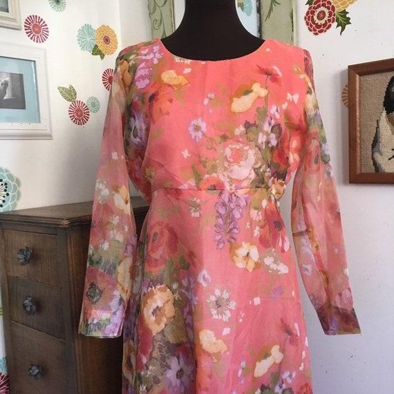 Vintage Hostess Dress, Size Large Pink Floral Shee