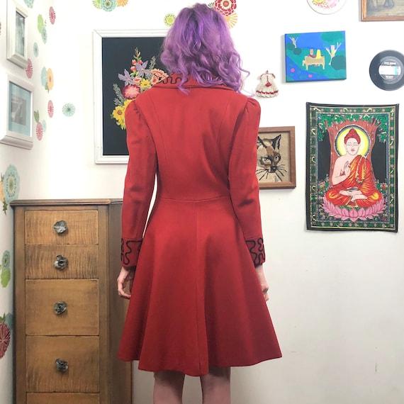 Vintage Princess Cut Coat, 1980s Red Wool Coat wi… - image 7