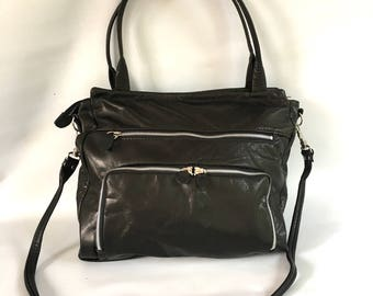 50% OFF- leather willow bag in black/silver