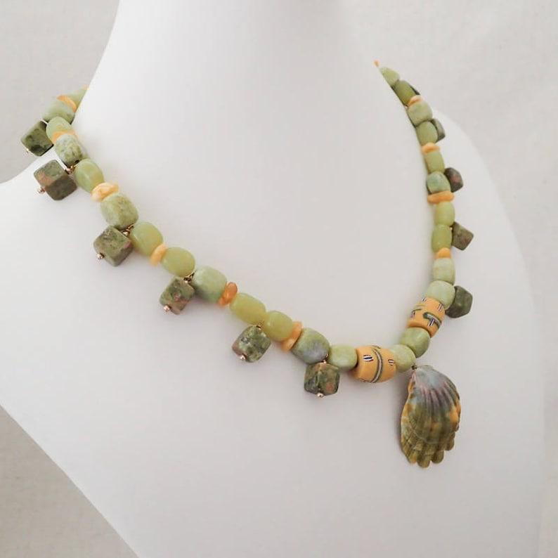 Amber and African bead Necklace Chrysoprase Kauai Sunrise Shell Unakite