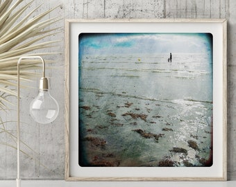 Ocean Landscape photography  Beach Wall Art decor Blue art print with a silhouette by the sea  VAGUES NORMANDES 2