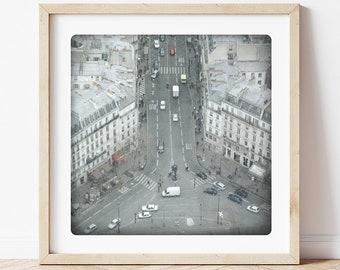Black and white photography Paris Streets Fine Art Print Haussmann Buildings Modern Home Decor CAPITALE 2