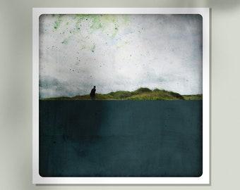Landscape photography  Fine Art Print  Silhouette  in sand dune  Dark Blue Painting  Living room art POLE MARINE