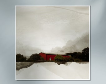 Industrial building photography in the sky Red aerial warehouse photogrpahy mixed with watercolor painting ABRI CUBE