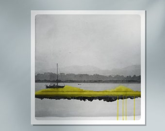 Sailboat photography  coastal fine art print Boat on the ocean  with yellow watercolor line   Black and white   MIROIR BATEAU