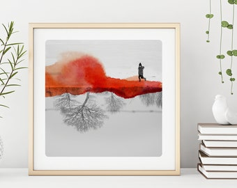 Winter photography print  Girl in the snow  Landscape  Fine Art Print Black and white photo with orange watercolor paints  MLLE  A