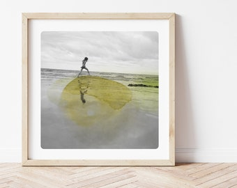 Coastal wall art decor Photography of a girl walking on a beach with yellow watercolor paint Surreal picture AQVA JAUNE