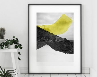 Art Print Black and white Photography mixed with Watercolor paints  Yellow Abstract Croisées F