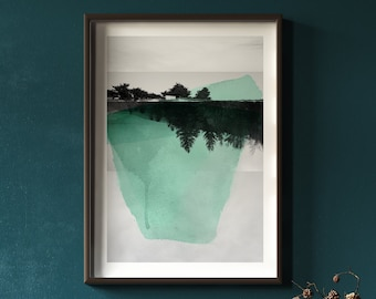 Black and white Photography mixed with aqua teal Watercolor painting Abstract Mountain Art Print   Croisées O