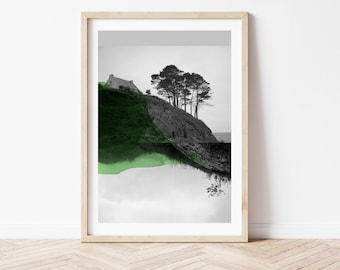 Abstract Mountain Art Print Black and white Photography mixed with blue Watercolor painting  Croisées D