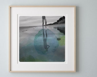 Beach photography Children legs  in a flake of water blue watercolor painting overlay AQVA BLEU