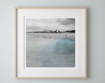 Coastal photography child on a beach Normandy France Blue watercolor art print Wall decor AQVA CLAIR