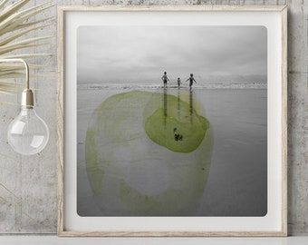 Beach Wall art decor Photography of 3 children silhouettes by the sea Green Yellow watercolor circles Waves Normandy Coast Print AQVA MAM