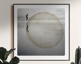 Dreamy beach photography Joyful Child Round watercolor painting bubble Coastal wall art decor AQVA UP