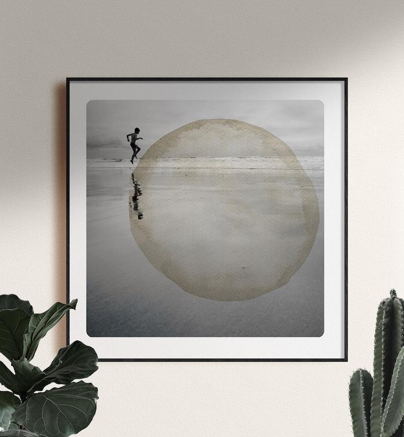 Dreamy beach photography Joyful Child Round watercolor image 1