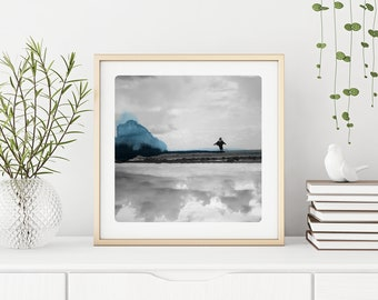 Seascape photography Child running on a beach Black & White photo with blue watercolor painting  Fine Art Print COURSE