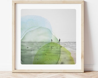 Beach photography and watercolor painting silhouettes on a french beach lime blue and yellow Minimal Coastal Art AQVA TRI