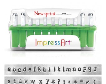 ImpressArt NEWSPRINT LOWERCASE Alphabet Metal Stamps 3mm
