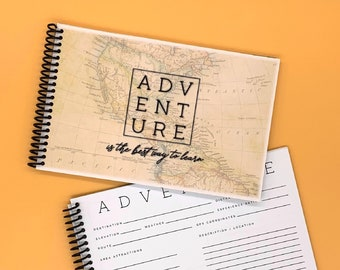 Adventure Travel Journal with Vintage World Map - Couples Road Trip Album - RV Camping Logbook - National Parks Stamp Book - Hiking Notebook