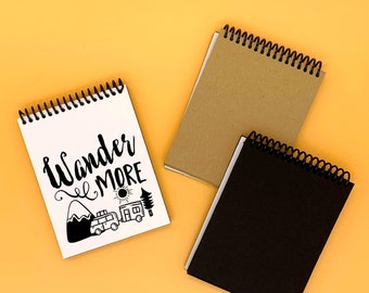 Mini Photo Album - Wander More - Handmade Travel Notebook - Couples RV Adventure Gift - Camping Photography Journal - US Road Trip Scrapbook