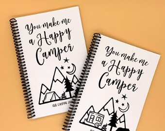 You Make Me a Happy Camper - Camping Travel Journal - Couples Adventure Gift - Family USA Road Trip - Retirement Present - RV or Tent Cover