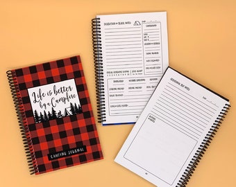 Camping Journal - Red, Green, or Blue Buffalo Check Plaid - New RV Camper - Family Road Trip - Campsite and Mileage Log - RV Christmas Gift
